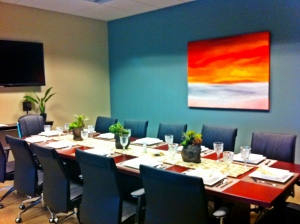 Our Suites Boardroom all set up for the Maquila Association lunch meeting